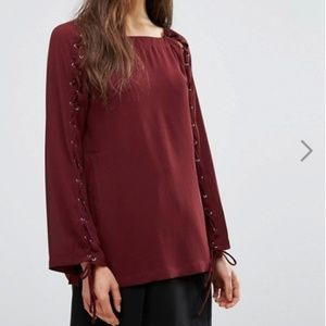 🍾 Greylin green Jamie Grommet Lace Up Blouse ASOS